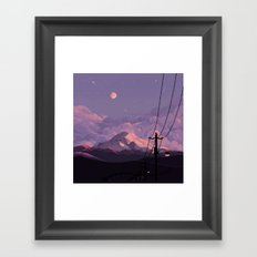Mt Rainier with Powerlines Framed Art Print