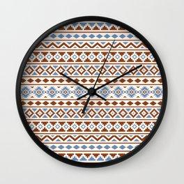Aztec Essence Pattern II Rust Blue Cream Wall Clock