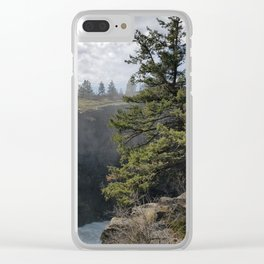 Beside The Falls, Beautiful Old Pine Tree Stands Sentry Beside A Watefall Clear iPhone Case