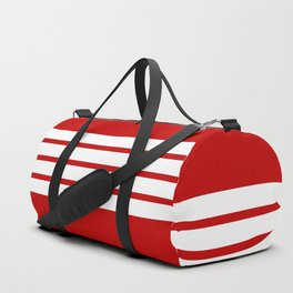 4 White Stripes on Red Duffle Bag