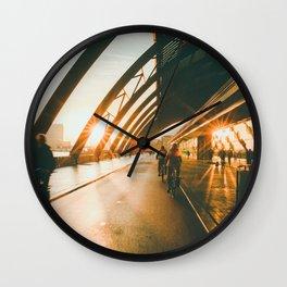 Biking in Amsterdam, Morning, Dutch Lifestyle Wall Clock