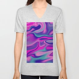 Liquid Bold Vibrant Colorful Abstract Paint in Blue, Pink and Purple Unisex V-Neck