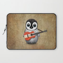 Baby Penguin Playing Austrian Flag Acoustic Guitar Laptop Sleeve