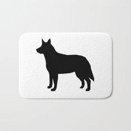 Australian Cattle Dog silhouette portrait dog pattern grey and white Bath Mat