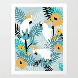 Playful Cockatoos  Art Print