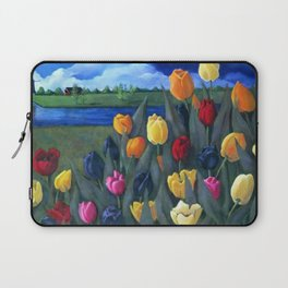 Dutch Tulips, Bright Colorful Flower Painting Laptop Sleeve
