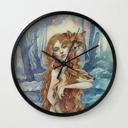 Winter fox Wall Clock