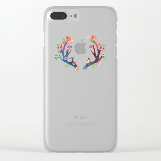 Roses and Antler - Floral flowers  watercolor Illustration Clear iPhone Case