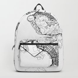 Hong Kong Map White Backpack