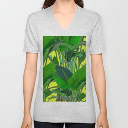 DECORATIVE TROPICAL GREEN FOLIAGE & CHARTREUSE ART Unisex V-Neck
