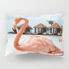 Pink Flamingo Art Print   Aruba Island, Caribbean Photo   Travel Photography Pillow Sham