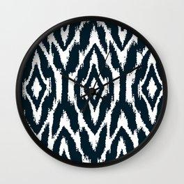 Dark Indigo Blue Ikat Nordic Wall Clock