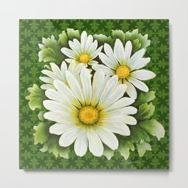 Daisies On Vintage Green Metal Print