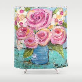 Shabby Chic Pink Rose Farmhouse Flowers Shower Curtain