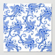 Paisley: Blue China Combo Canvas Print