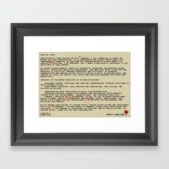 IT Manager Cover Letter Framed Art Print by spikes300