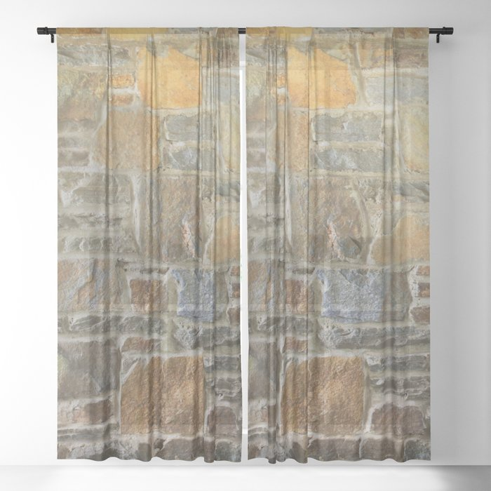 Avondale Brown Stone Wall and Mortar Texture Photography Sheer Curtain