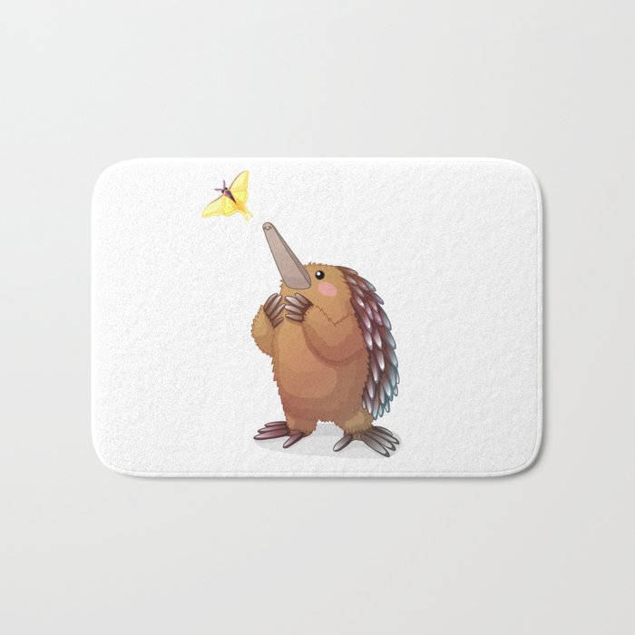 Cute echidna and butterfly. Vector graphic character Bath Mat