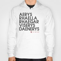 daenerys targaryen Hoodies featuring House Targaryen Typography series II  by P3RF3KT