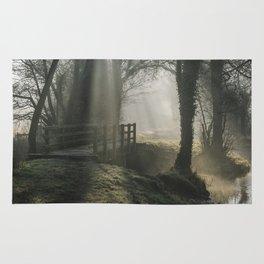 Sunlight through mist and fog over an old wooden footbridge. Norfolk, UK. Rug