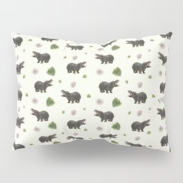 Hippos and Flowers Pillow Sham