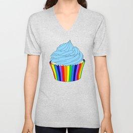 Rainbow Cupcake with Blue Icing  Unisex V-Neck