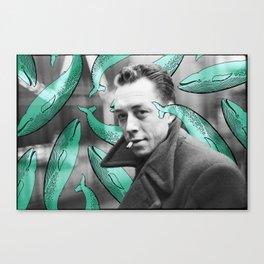 Albert Camus with calm whales Canvas Print