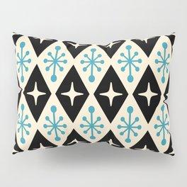 Mid Century Modern Atomic Triangle Pattern 922 Black and Blue Pillow Sham