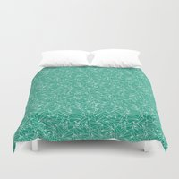 aviation Duvet Covers featuring Schoolyard Aviation Green by Dianne Delahunty
