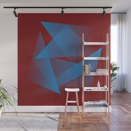 Floating blue fragments Wall Mural
