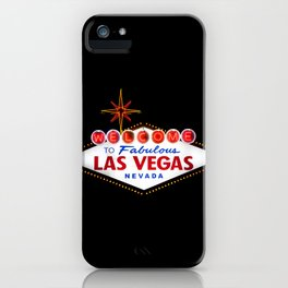 Welcome to Fabulous Las Vegas vintage sign neon on dark background  iPhone Case