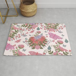 Coral pink green glitter butterfly floral  Rug