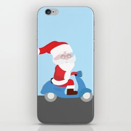 Santa Claus coming to you on his Scooter iPhone Skin