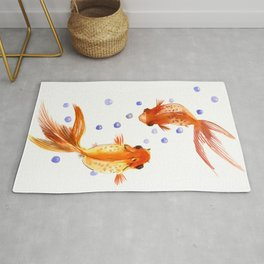Goldfish, two fish, Koi Asian Style watercolor art, feng shui Rug