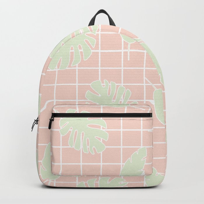 Graphic Tropical Leaves on Grid Pink and Mint Green Backpack