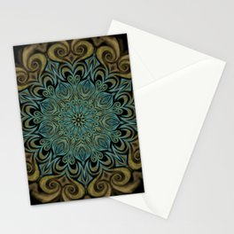 Teal and Gold Mandala Swirl Stationery Cards