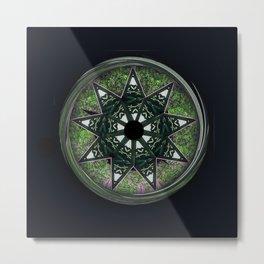 Bahai star square green Metal Print