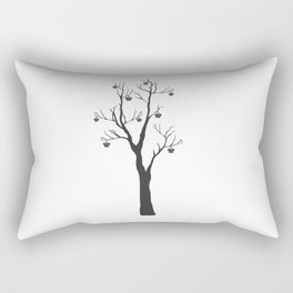 Silhouette of a rowan tree with berries. Rowan Icon  Rectangular Pillow