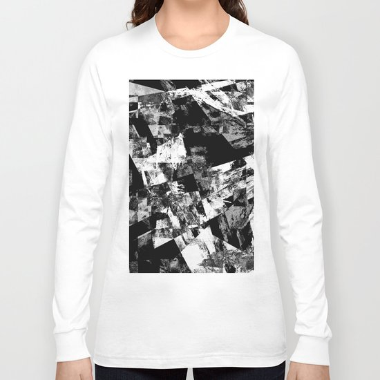 Fractured Black And White - Abstract, textured, black and white artwork Long Sleeve T-shirt