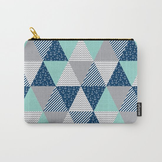 Triangle quilt pattern navy grey and white minimal modern basic nursery Carry-All Pouch