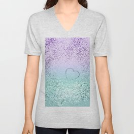 Sparkling MERMAID Girls Glitter Heart #1 #decor #art #society6 Unisex V-Neck