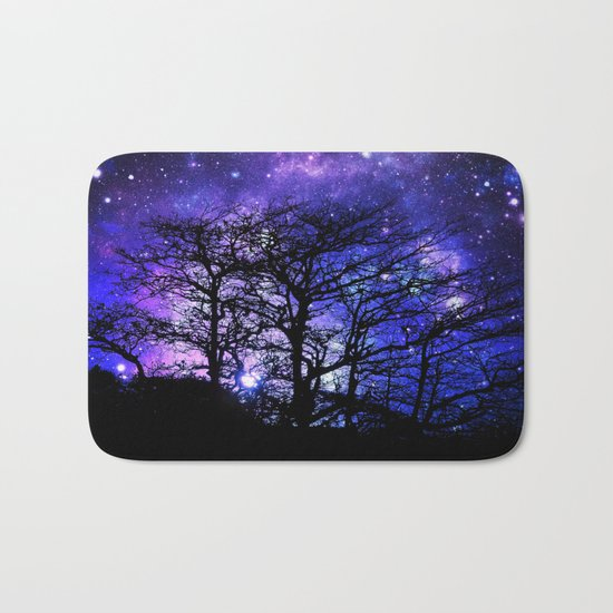 Black Trees Blue Violet Purple Space Bath Mat