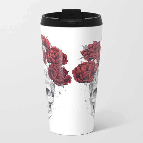 Skull with peonies Metal Travel Mug