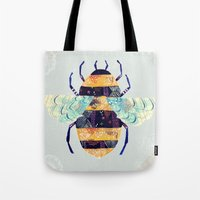 bee Tote Bags featuring bee by Yellow Button Studio