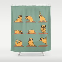 huebucket Shower Curtains featuring Pug Yoga by Huebucket