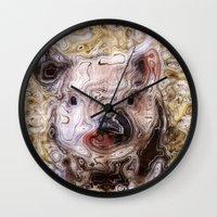 piglet Wall Clocks featuring scribbled Piglet by MehrFarbeimLeben