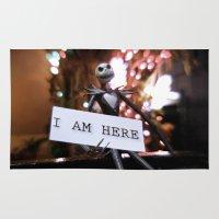 jack skellington Area & Throw Rugs featuring Jack Skellington - I AM HERE by Midge