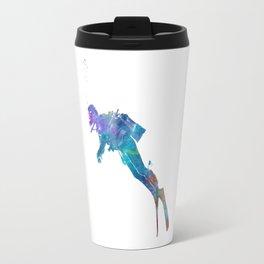 Man scuba diver 02 in watercolor Travel Mug