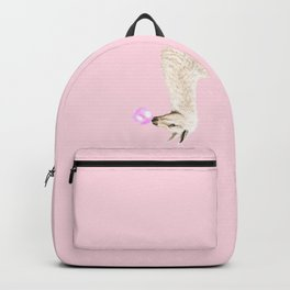 Playful Llama Chewing Bubble Gum in Pink Backpack