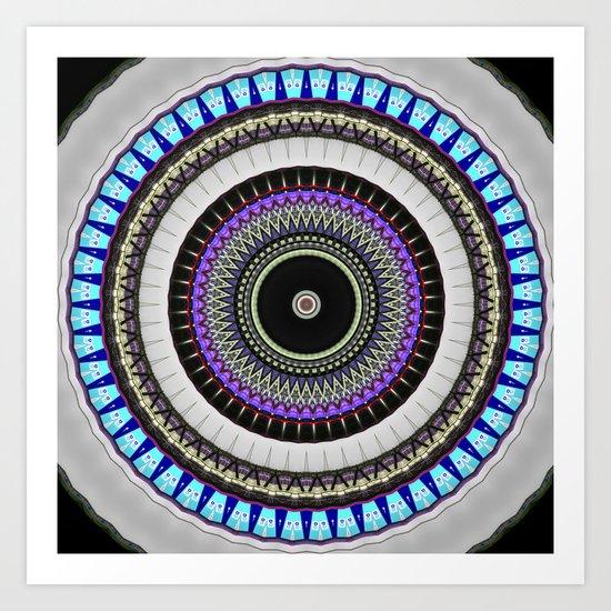 gray blue mandala Art Print